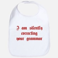 I-am-silently-grammar-plaing-brown Bib