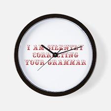 I-am-silently-grammar-max-brown Wall Clock