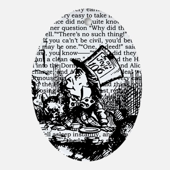 alice-vintage-border_bw_9x9.png Ornament (Oval)
