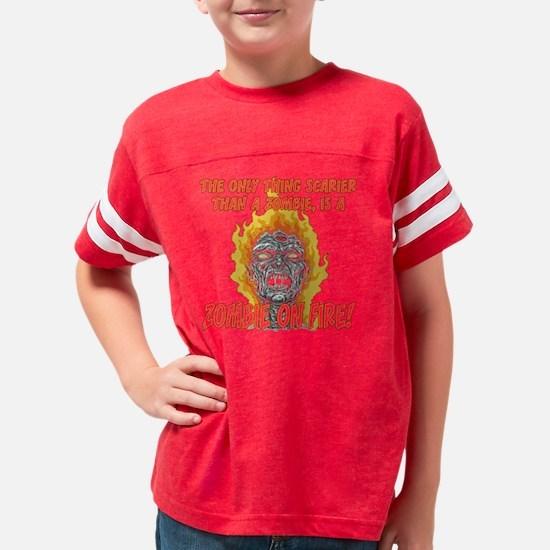 flaming zombie_dark Youth Football Shirt
