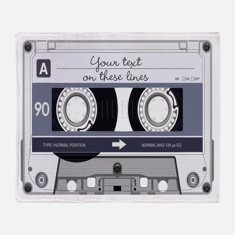 Customizable Cassette Tape - Grey Throw Blanket