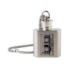 Customizable Cassette Tape - Grey Flask Necklace