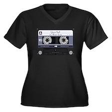 Customizable Women's Plus Size V-Neck Dark T-Shirt