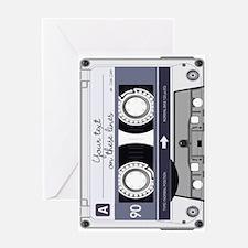 Customizable Cassette Tape - Grey Greeting Card