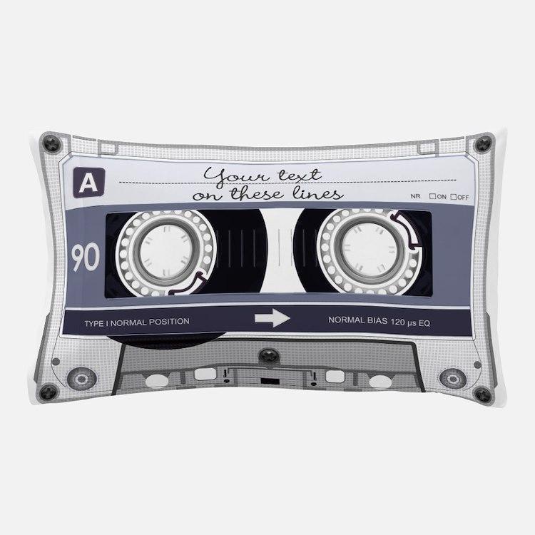 Customizable Cassette Tape - Grey Pillow Case