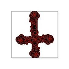 """goth-cross-invert_red.png Square Sticker 3"""" x 3"""""""