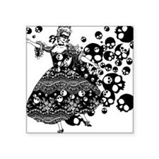 "skulldance_bl.png Square Sticker 3"" x 3"""