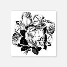 """skull-roses_bk.png Square Sticker 3"""" x 3"""""""
