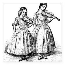 """violin-girls_bk.png Square Car Magnet 3"""" x 3"""""""
