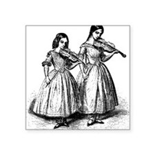 "violin-girls_bk.png Square Sticker 3"" x 3"""