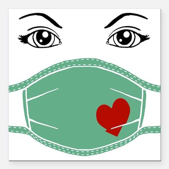 """med-mask-heart_bl.png Square Car Magnet 3"""" x 3"""""""