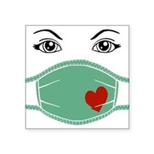 "med-mask-heart_bl.png Square Sticker 3"" x 3"""
