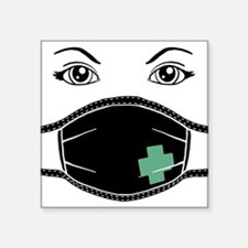 "med-mask-x_bl.png Square Sticker 3"" x 3"""