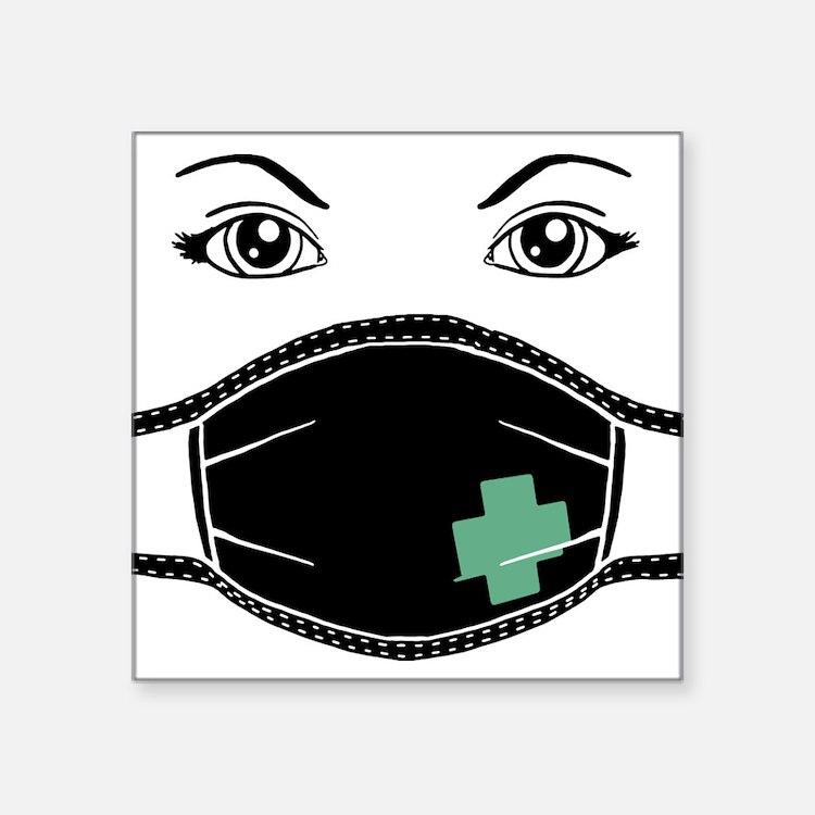 "med-mask-x_bl.png Square Sticker 3"" x 3"""