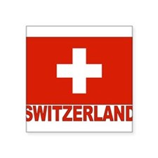 "swiss-flag.png Square Sticker 3"" x 3"""