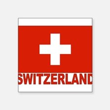 "swiss-flag.png Square Sticker 3"" x 3"""