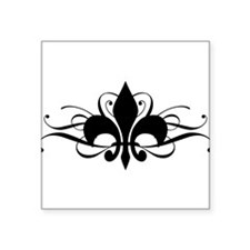 "fleur-de-lis-swirls_dark.png Square Sticker 3"" x 3"