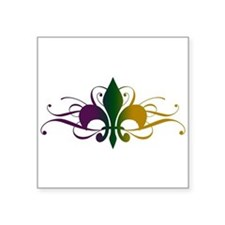 """fleur-de-lis-swirls_color.png Square Sticker 3"""" x"""