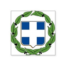 "greek-crest.png Square Sticker 3"" x 3"""