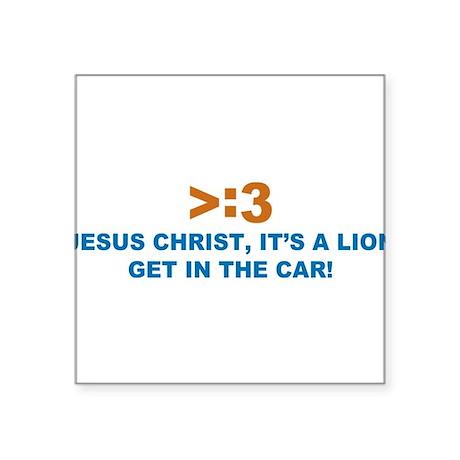 "JESUS-LION.png Square Sticker 3"" x 3"""