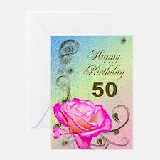 50th Birthday Elegant rose Greeting Card