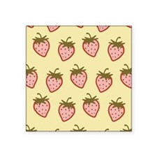 "cutie-strawberries_6x18.png Square Sticker 3"" x 3"""