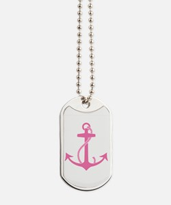 Pink Anchor Dog Tags