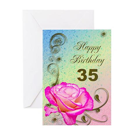 35th Birthday Elegant rose Greeting Card