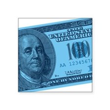 "100-dollar-closeup_blue.png Square Sticker 3"" x 3"""