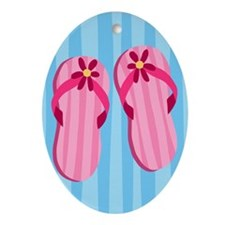 Pink Flip Flops Ornament (Oval)