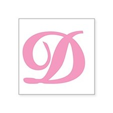 """D-pink-initial_tr.png Square Sticker 3"""" x 3"""""""