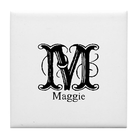 Maggie: Fancy Monogram Tile Coaster