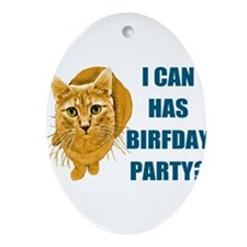 LOLCAT-BIRFDAY-Y.png Ornament (Oval)