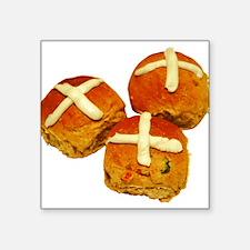 "hot-cross-buns_tr.png Square Sticker 3"" x 3"""