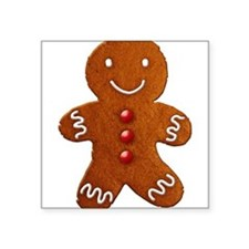 "gingerbread-man_tr.png Square Sticker 3"" x 3"""