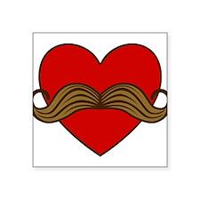 "moustache-heart.png Square Sticker 3"" x 3"""