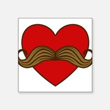"moustache-heart.png Square Sticker 3"" x 3"""