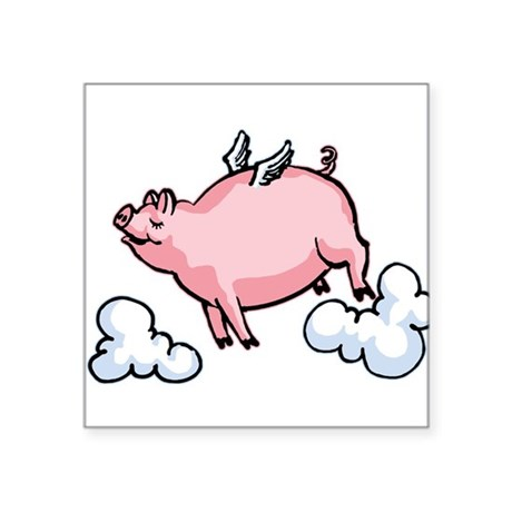 "flying-pig.png Square Sticker 3"" x 3"""