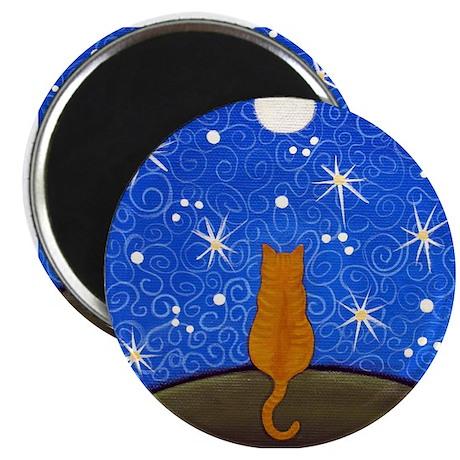 Dark Orange Tabby CAT Starry Night Moon ART Magnet