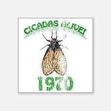 """Retro 1970 Cicadas Square Sticker 3"""" x 3"""""""