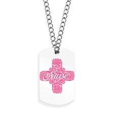Nurse Pink Lacy Cross Dog Tags
