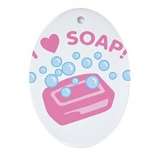 i-love-soap.png Ornament (Oval)