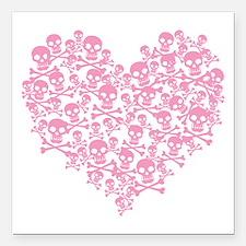 "skullheartpink_tr.png Square Car Magnet 3"" x 3"""