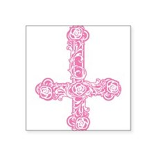 "goth-cross-invert_pk.png Square Sticker 3"" x 3"""
