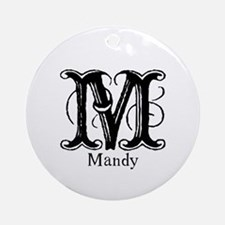 Mandy: Fancy Monogram Ornament (Round)