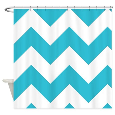 Aqua And White Chevron Pattern Shower Curtain By GraphicAllusions