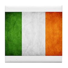 antiqued Irish flag Tile Coaster