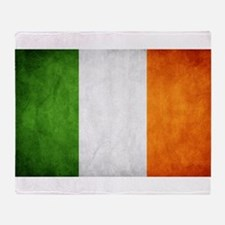 antiqued Irish flag Throw Blanket