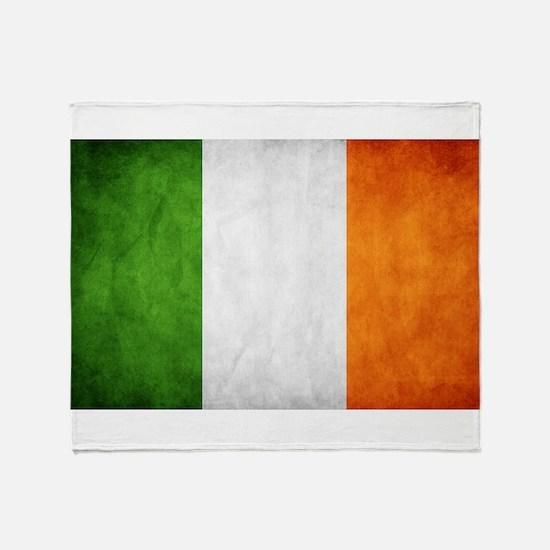 antiqued Irish flag Throw Blanket
