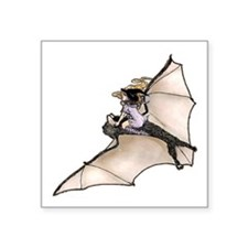 """bl_tiny_witch_on_bat.png Square Sticker 3"""" x 3"""""""